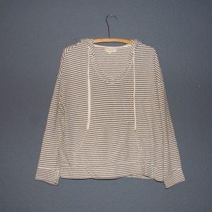MAX STUDIO Weekend Gray Striped Hoodie Sweatshirt